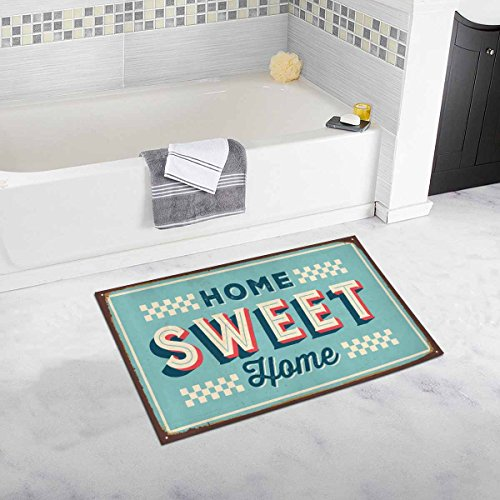 InterestPrint Funny Vintage Metal Sign Home Sweet Home House Decor Non Slip Bath Rug Mat Absorbent Bathroom Floor Mat Doormat Large Size 20 x 32 Inches by InterestPrint