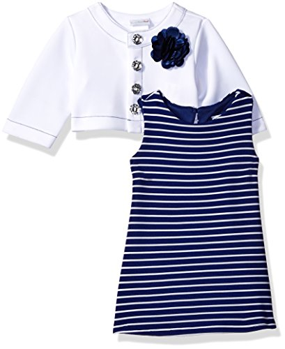 Sweet Heart Rose Baby Girls' Stripe Knit Dress and Jacket Set, Navy/White, 18M Sweetheart Rose Baby Girl