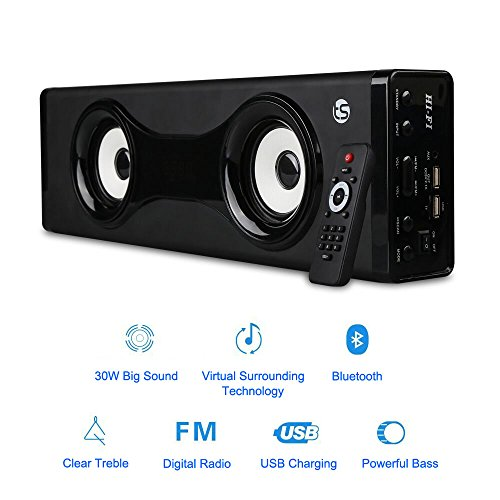 TRANSPEED Wireless Bluetooth Speakers with 24W Extremely Loud HD Sound,Wireless Home Theater Party Speaker and bookshelf speaker, Strong Bass, Aluminum Metal Enclosed, with Remote Control 5 EQ mode