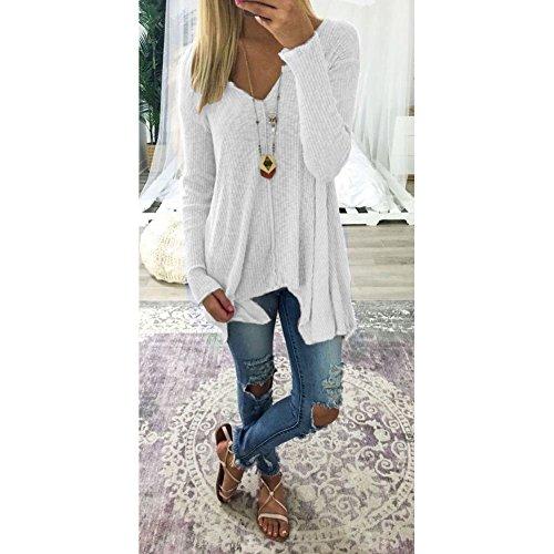 Pinke tunica V unita donna bianca a Wuxi scollo camicetta sciolto lunga elegante manica maglietta tinta dTxwY