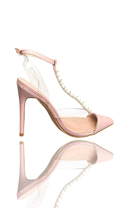 094a17bef04 Ikrush Womens Tiffany Studded Perspex Court Heels Pink UK 7  Amazon ...
