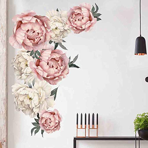 DZT1968  Peony Flowers Wall Sticker,Vintage Bouquet Wall Decal Sticker Peel and Stick Floral Art Decor Nursery Decals Kids Room Home Decor Gift (S:15.7 x 23.6 inch) ()