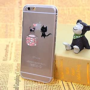 SHOUJIKE Kitten Pattern TPU Screen Thin Transparent Back Cover Case for iPhone 6