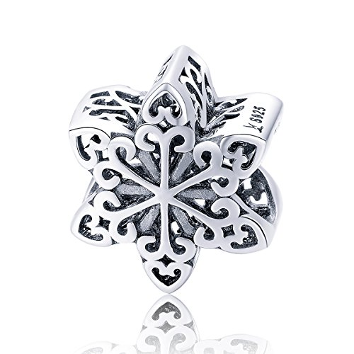 BAMOER Beautiful Snowflake Bracelet Charms 925 Sterling Silver Beads for Women Teen Girls Bracelet Necklace Gift ()