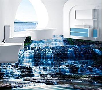 Mbwlkj Natur Kleine Wasserfall Stein 3d Boden Wandbild Tapete Kuche