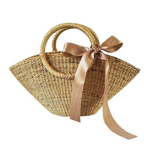 Domybest Paja Bolsa Crossbody Bolsa de Mujer de retro Bolsos de playa de verano para mujer 01