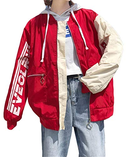 Con Misti Elegante Colori Tasche Lunga Cerniera Moda Manica Digitale Outwear Autunno Giaccone Sottile Donna Women Baseball Stampato Giovane Giacca Pattern Baggy Rot Giacche ZwddqPO6