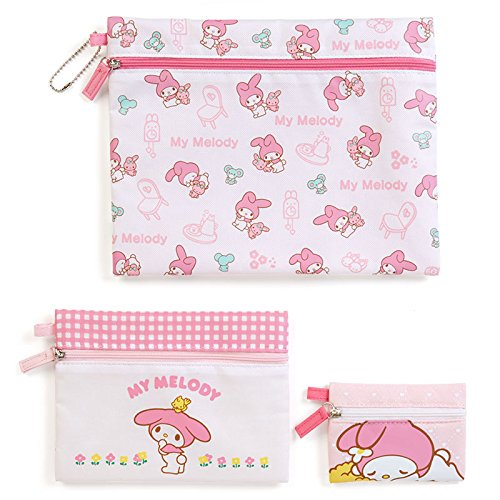 Sanrio My Melody triple flat pouch basic From Japan New by Sanrio