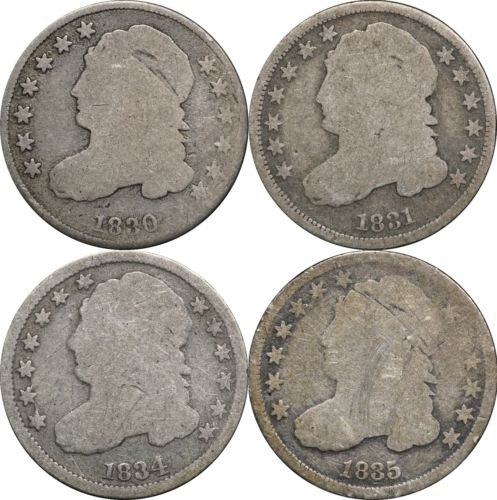 Bust Silver Dime (1830 , 1831, 1834 & 1835 Capped Bust Dime, AG / G - Lot of (4) Coins Good)