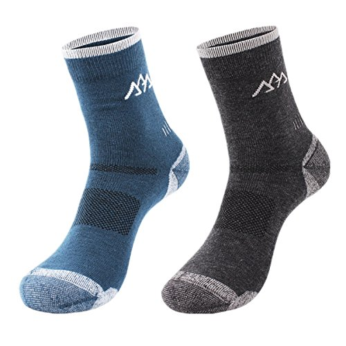 2 Pairs Merino Wool Men's Hiking Socks - Half Full Thickness For Trekking Mountaineering (Grey+Green)
