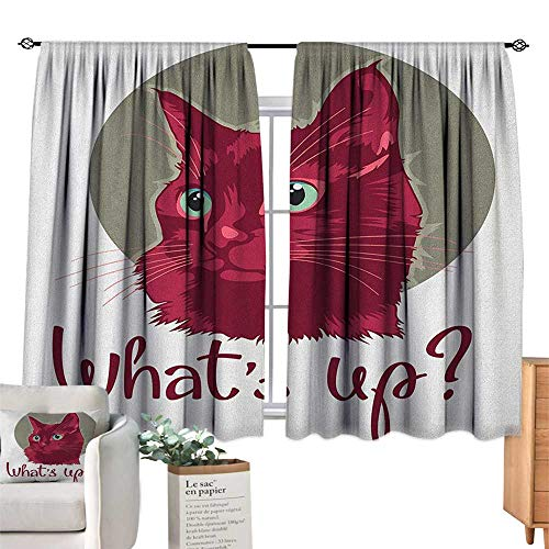 CatSolid Rod Pocket short Blackout DrapesColorful Modern Artwork with Young Cat Portrait Asking Whats Up Lovely AnimalThermal Insulated Grommet Blackout Curtains for Bedroom Red Grey White. W55