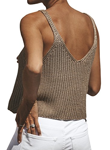 Ivay Women's Sleeveless Sweater Crop Top Solid Spaghetti Strap Knitted Tank by Ivay (Image #2)