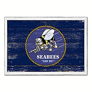 Seabees Military Flag White Wash Wood Frame Cottage Shabby Chic Gifts Home Decor Wall Art Canvas Print