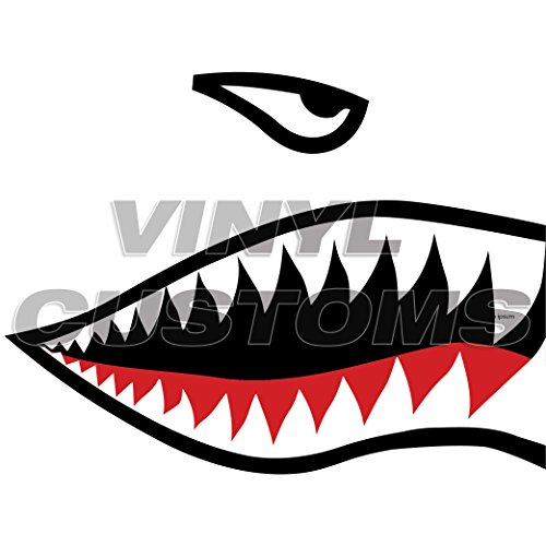 P-40 Warhawk Flying Tigers Shark Teeth Vinyl Decal Sticker ()
