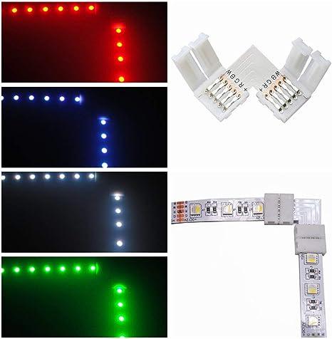 """Eckverbinder RGB W 5 pin 12mm LED 90° Winkel /""""L/"""" Form Schnellverbinder  4 6 8 10"""