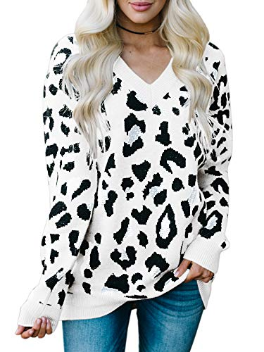 Karlywindow Womens Leopard Print Sweaters Long Sleeve V Neck Knitted Stylish Pullover