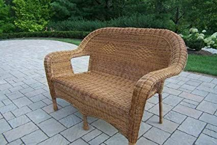Astounding Amazon Com Oakland Living Resin Wicker Loveseat Natural Cjindustries Chair Design For Home Cjindustriesco