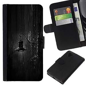 KingStore / Leather Etui en cuir / LG Nexus 5 D820 D821 / Lámpara de noche Negro White Rain Sad;