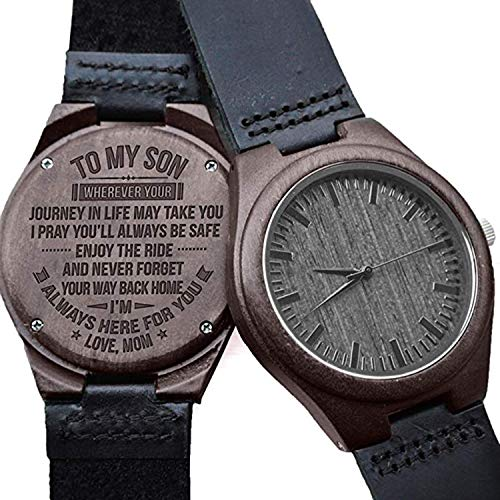 Engraved Watches for Men,Natural Personalized Customized Sandalwood Leather Wooden Wrist Watch