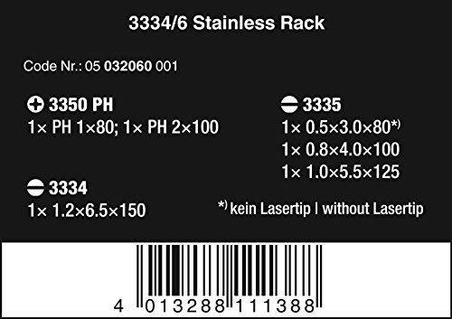 Wera 05032060001 Kraftform Stainless 3334/6 Stainless Steel Slotted/Phillips Screwdriver Set and Rack, 6-Piece by Wera (Image #2)