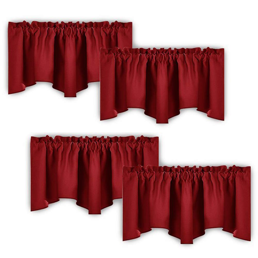 beautiful Red And Grey Valance Part - 4: Amazon.com: NICETOWN Burgundy Red Blackout Valances - Thermal Insulated  Elegant W52 x L18 Scalloped Rod Pocket Curtains for Small Window Decor on  Christmas ...