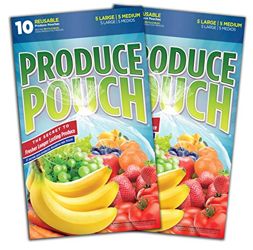 Produce Pouch-Keeps Produce Fresher Longer, reusable green bags preserve fruits, vegetables and flowers 2 packs (20 Bags) (Peak Fresh Produce Bags)
