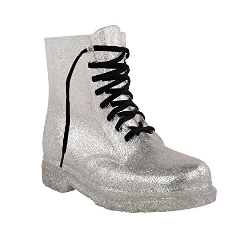 Fashion Thirsty Womens Flat Lace Up Clear Festival Jelly Wellies Low Ankle Rain Boots Shoes Size 9