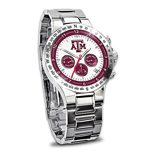 Texas A&M University Aggies Men's Stainless Steel Chronograph Collector's Watch by The Bradford (Aggies Mens Watch)