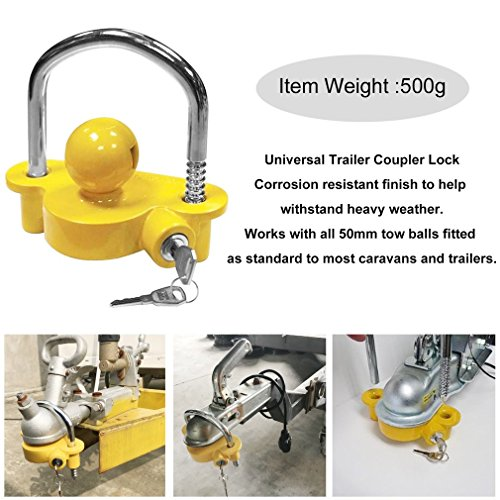 Blackpoolfa Trailer Hitch Coupler Lock by Anti-Theft Lock Trailer Accessories Adjustable & Universal Fits All - Heavy Duty Design with Iron and Aluminum Alloy Base - Easy to Install (Yellow) by Blackpoolfa (Image #1)