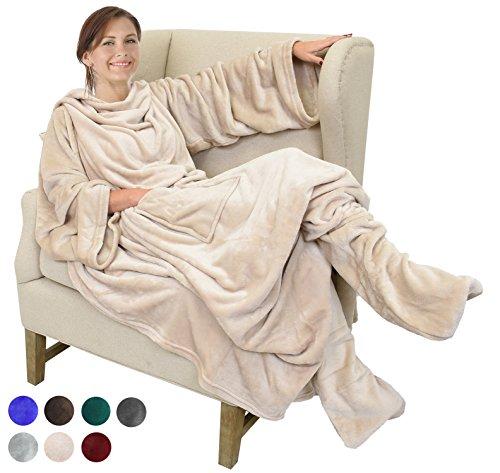 Fleece Blanket with Sleeves & Foot Pockets, Latte Micro Plush Fleece...