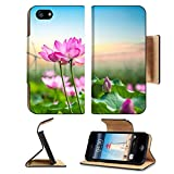 Luxlady Premium Apple iPhone 5 iphone 5S Flip Pu Leather Wallet Case iPhone5 IMAGE ID: 33825482 lotus and wind turbine new energy background and beautiful natural landscape