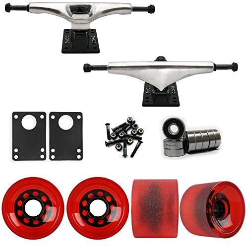 Core 7.0 Raw Longboard Trucks Wheels Package 70mm Sliding Wheels Red