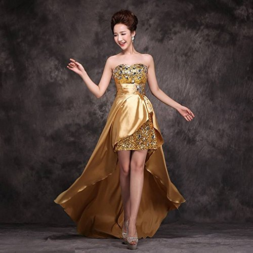 Champán Liso Xiang Mujer Ru Mangas Sin Para Vestido wxE70CqO