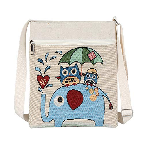 Aikesi Cute Donna Tote Owl Shopper a spalla Animal And Handbags Canvas Elephant Borsa BSBH4qw