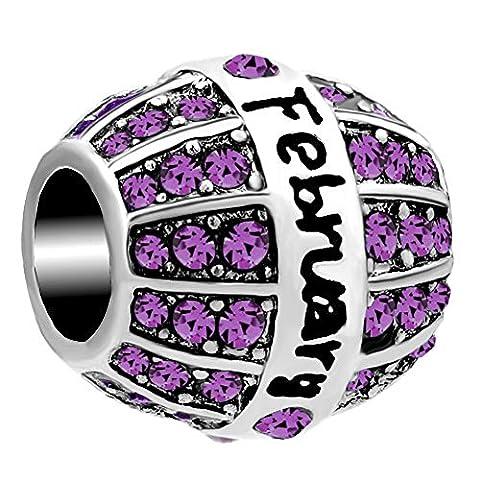 LuckyJewelry February Birthstone Crystal Charms Beads fit Charm Bracelet - February Birthstone Charm