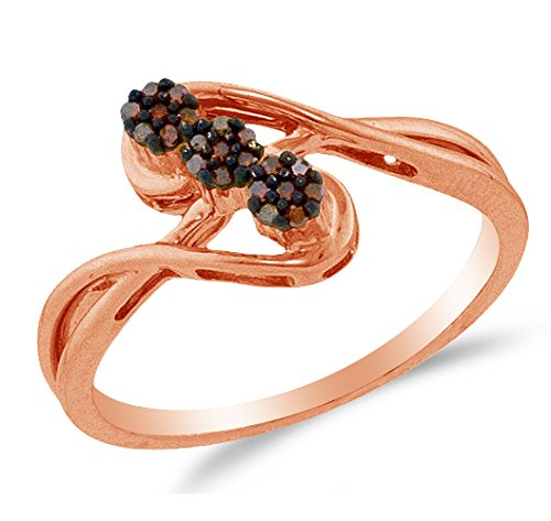 Size 10 - 10K Rose Gold Chocolate Brown Round Diamond 3 Flowers Engagement Ring - Channel Set Flower Center Setting Shape (.07 cttw.) (Champagne Diamond Flower Ring)