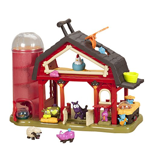 B Toys – Baa-Baa-Barn Farm Set – Lights & Sounds Toy Barn for Kids 2+ (7Pcs)