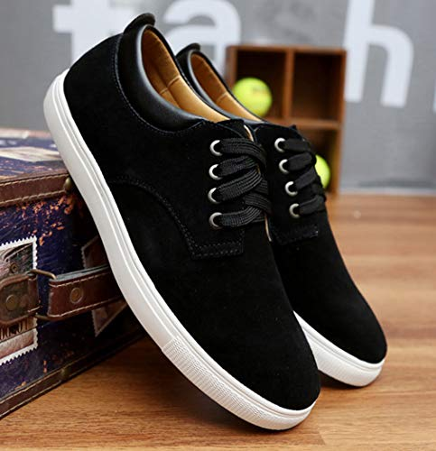 Femaroly Men's Skateboard Shoe Large Size Casual Suede Lace-up Breathable Leather Shoes Black 7.5M by Femaroly (Image #1)