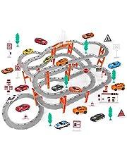 DWLXSH Racing Juego de pista de coches, los niños de la Asamblea juguetes eléctricos del coche de carril de carreras de padres e hijos interactivo Rompecabezas de la pista simple aleación coche pequeñ