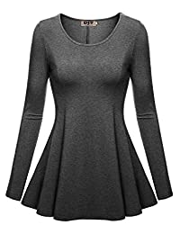 DJT Womens Scoop Neck Fitted Peplum Tunic Top