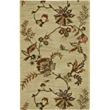 Rizzy Rugs DI-1942 2-Foot-6-Inch -by-8-Foot Dimension Area Rug, Floral Beige