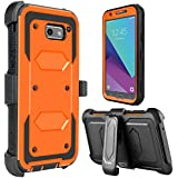 Galaxy J7 2017 Case, Galaxy Halo Case, J7 Sky Pro Case, Tevero [Holster Series] Shockproof Protective Case with Kickstand and Belt Swivel Clip for Samsung Galaxy J7 V 2017 (Orange)