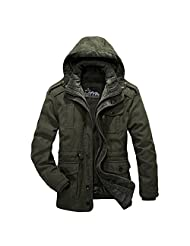 AFSJEEP Men's Cotton Thickening Cotton-Padded Army Warm Coats Jackets