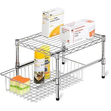 Mr. Sink Adjustable Shelf with Under Cabinet Organizer, Chrome