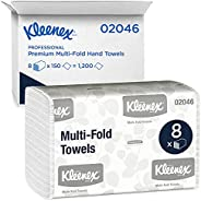 Kimberly-Clark Professional Kleenex Multifold Paper Towels (02046), White, 8 Packs/Convenience Case, 150 Tri F