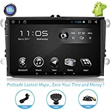 Car Stereo with Navigation-9 Inch Touch Screen Double Din Car Stereo with Bluetooth 2 Din Android Head Unit GPS Navigation for Car VW VOLKSVAGEN Golf Passat Tiguan Polo Jetta Skoda Seat