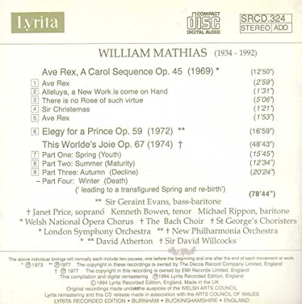William Mathias: Ave Rex / Elegy for a Price