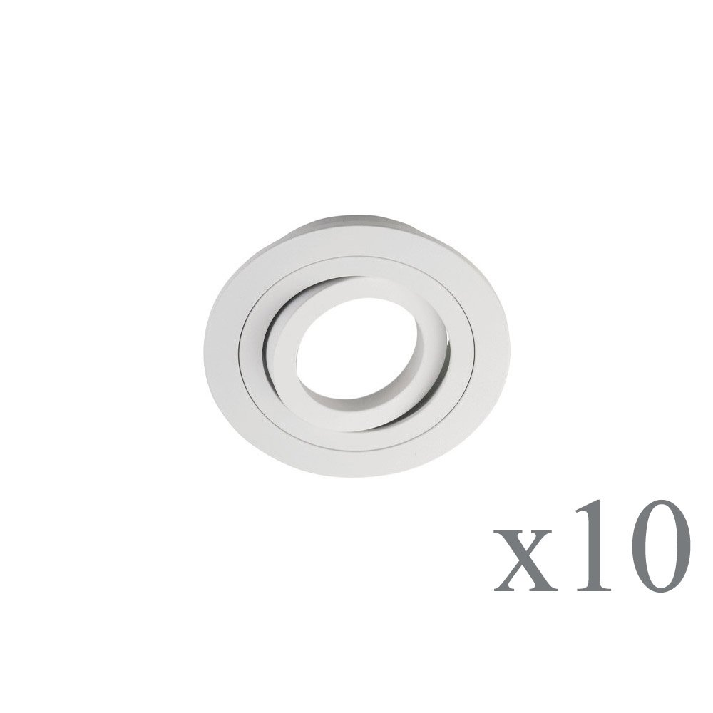 Wonderlamp Classic W-E000109 Pack de Focos Empotrables Redondos con Portalámparas GU10, Blanco, 9.3 x 2.5 cm, 10 Unidades product image