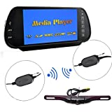 E-KYLIN Car 7 inch HD Rear View Mirror Monitor (MP5 Player[SD Card, USB Stick], FM Transmitter, 2 RCA Video Inputs) + Wireless Plate Mount Backup Camera IR Night Vision Parking Kit