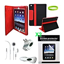 CrazyOnDigital 7 Items Accessories Case Charger Screen Protector for Apple iPad 2, iPad 2G - 16 GB, 32 GB, 64 GB, 3G, Wi-Fi (iPad2_BlkLthr212_Red_7Items)